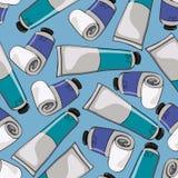 Fundo sem emenda com os tubos da pintura de óleo Fotografia de Stock Royalty Free