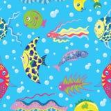 Fundo sem emenda com peixes tropicais Fotografia de Stock Royalty Free