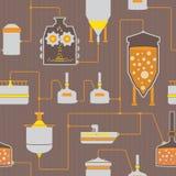 Fundo sem emenda com processo da fabricação de cerveja de cerveja Imagem de Stock Royalty Free
