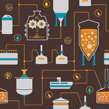 Fundo sem emenda com processo da fabricação de cerveja de cerveja Imagem de Stock
