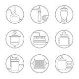 Fundo sem emenda com processo da fabricação de cerveja de cerveja ilustração stock