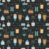 Fundo sem emenda com processo da fabricação de cerveja de cerveja ilustração royalty free
