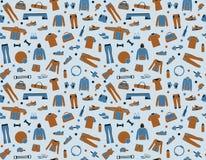 Fundo sem emenda com roupa e acessórios para a aptidão ilustração stock