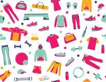 Fundo sem emenda com roupa e acessórios para a aptidão ilustração royalty free