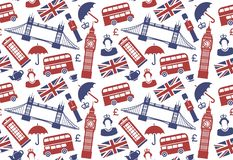Fundo sem emenda com símbolos tradicionais de Inglaterra ilustração do vetor