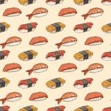 Fundo sem emenda com sushi desenhado à mão Imagens de Stock
