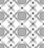 Fundo sem emenda com testes padrões do deco das belas artes em preto e branco Foto de Stock Royalty Free