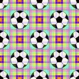 Fundo sem emenda com uma bola de futebol no cores translúcidas Fotografia de Stock