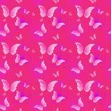Fundo sem emenda cor-de-rosa bonito do teste padrão com o ornamento colorido da borboleta ilustração do vetor