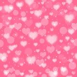 Fundo sem emenda cor-de-rosa com corações Vetor Fotos de Stock Royalty Free