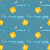 Fundo sem emenda da água azul do trovão do projeto da estação da ilustração do vetor do mar do teste padrão do tempo Foto de Stock Royalty Free