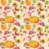 Fundo sem emenda da ação de graças Frutos, vegetais - abóbora, folhas de outono watercolor Fotos de Stock