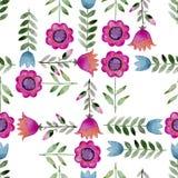 Fundo sem emenda da aquarela que consiste em flores e nas pétalas cor-de-rosa Imagens de Stock
