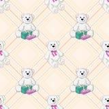 Fundo sem emenda da cor branca do urso de peluche Imagens de Stock Royalty Free