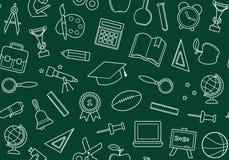 Fundo sem emenda da escola em um quadro-negro ilustração do vetor