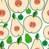 Fundo sem emenda da fruta - peras e maçãs ilustração do vetor