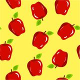 Fundo sem emenda da maçã no amarelo Fotografia de Stock
