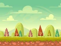Fundo sem emenda da natureza dos desenhos animados Imagens de Stock
