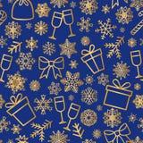 Fundo sem emenda da neve do feriado de inverno do teste padrão do ícone do Natal ilustração do vetor