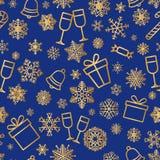 Fundo sem emenda da neve do feriado de inverno do teste padrão do ícone do Natal ilustração royalty free