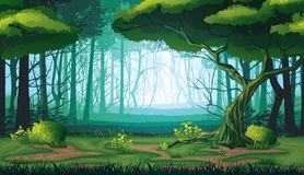 Fundo sem emenda da paisagem com floresta profunda Imagens de Stock