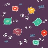 Fundo sem emenda da pata do gato da garatuja purr Teste padrão sem emenda do vetor abstrato da pata do gato para o cartão, convit ilustração do vetor
