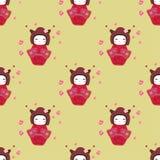 Fundo sem emenda da textura com kokeshi feliz Imagem de Stock
