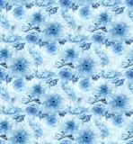 Fundo sem emenda da textura do teste padrão da arte digital azul floral azul da flor de sakura da cereja ilustração stock