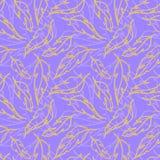 Fundo sem emenda da textura do teste padrão do símbolo violeta amarelo dourado da folha da pena Foto de Stock