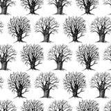 Fundo sem emenda das árvores tiradas Fotos de Stock Royalty Free