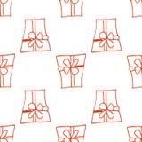 Fundo sem emenda das caixas de presente Linear, arte do esboço Fundo claro do Natal Imagens de Stock
