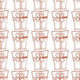 Fundo sem emenda das caixas de presente Linear, arte do esboço Fundo claro do Natal Fotografia de Stock