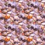Fundo sem emenda das férias bonitas do mar do verão com seixos e shell da praia Seixos coloridos na praia Imagens de Stock