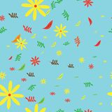 Fundo sem emenda das flores e das folhas do outono ilustração do vetor
