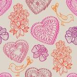 Fundo sem emenda das flores e dos pássaros dos corações. Textura retro do amor. Fotos de Stock Royalty Free