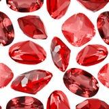 Fundo sem emenda das gemas vermelhas isoladas do rubi Fotografia de Stock