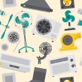 Fundo sem emenda de acondicionamento do teste padrão do controle fresco do clima do ventilador do equipamento de sistemas da repr Foto de Stock Royalty Free
