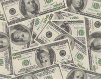 Fundo sem emenda de 100 cédulas do dólar Imagens de Stock
