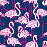 Fundo sem emenda de flamingos cor-de-rosa dos desenhos animados fotos de stock royalty free