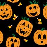 Fundo sem emenda de Jack O'lanterns e de milho de doces Imagem de Stock Royalty Free