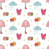Fundo sem emenda de Kawaii com a nuvem do cogumelo, do guarda-chuva e de chuva ilustração stock