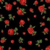 Fundo sem emenda de rosas vermelhas ilustração stock