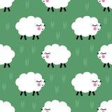 Fundo sem emenda de sorriso do teste padrão dos cordeiros Ilustração dos carneiros do bebê do vetor por feriados das crianças Imagem de Stock
