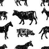 Fundo sem emenda de vários animais de exploração agrícola ilustração do vetor