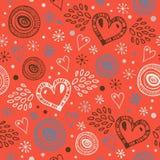 Fundo sem emenda decorativo abstrato com corações Teste padrão infinito da garatuja Textura bonito decorativa Papéis de parede mo ilustração do vetor