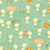 Fundo sem emenda do alimento com cozinheiros chefe do divertimento Imagens de Stock Royalty Free
