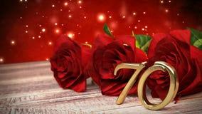 Fundo sem emenda do aniversário do laço com as rosas vermelhas na mesa de madeira aniversário setuagésimo 70th 3d rendem