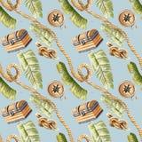 Fundo sem emenda do azul do teste padrão da caixa tropical pintado à mão da corda da selva do pirata da ilustração da aquarela ilustração stock