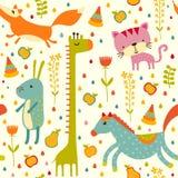Fundo sem emenda do bebê colorido Cartão ou convite do feliz aniversario Imagens de Stock Royalty Free