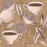 Fundo sem emenda do chá e do limão do vintage Foto de Stock Royalty Free